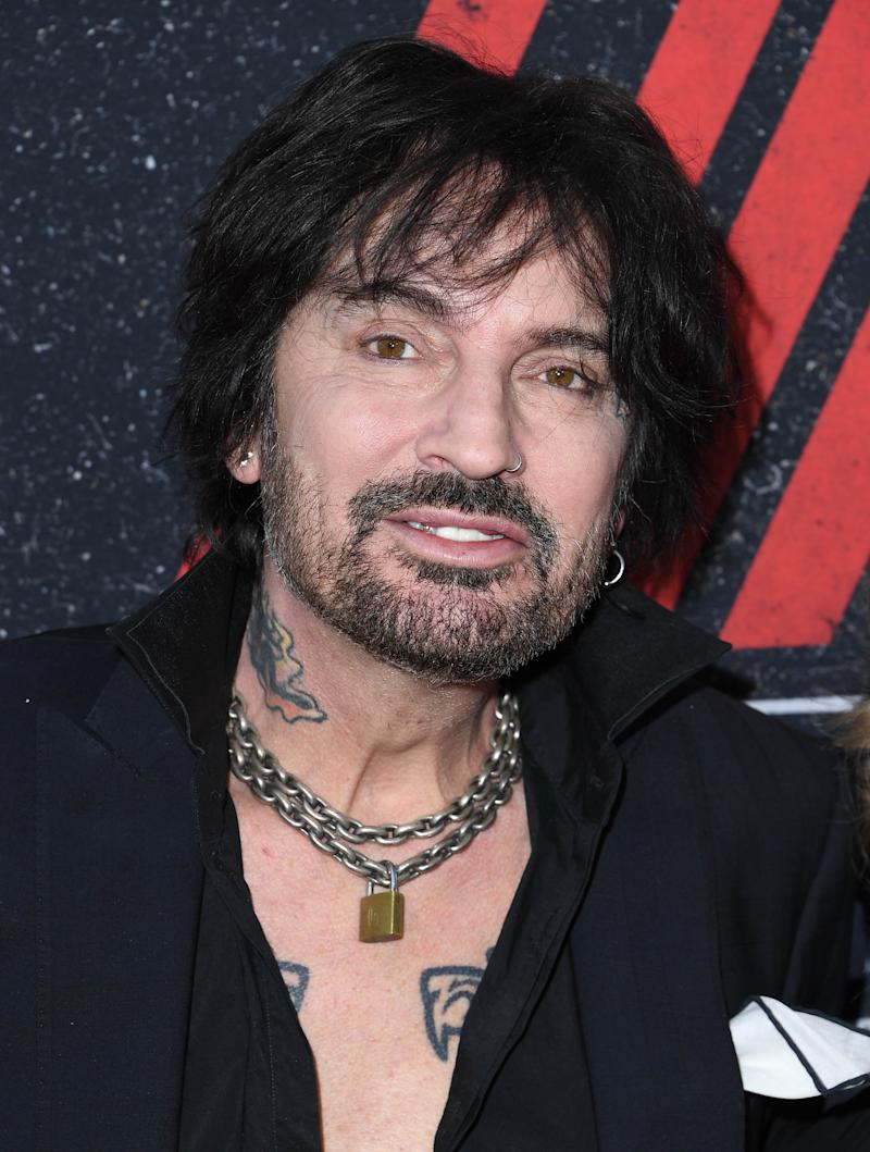 "HOLLYWOOD, CALIFORNIA - MARCH 18: Tommy Lee arrives at the Premiere Of Netflix's ""The Dirt"" at ArcLight Hollywood on March 18, 2019 in Hollywood, California. (Photo by Steve Granitz/WireImage)"