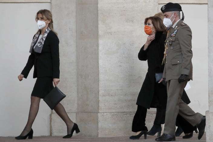 President of the Italian Senate, Elisabetta Alberti Casellati arrives at the Qurinale presidential palace for consultations with President Sergio Mattarella, in Rome, Wednesday, Jan. 27, 2021. Italian Premier Giuseppe Conte resigned after a key coalition ally pulled his party's support over Conte's handling of the coronavirus pandemic, setting the stage for consultations this week to determine if he can form a third government.(AP Photo/Alessandra Tarantino)