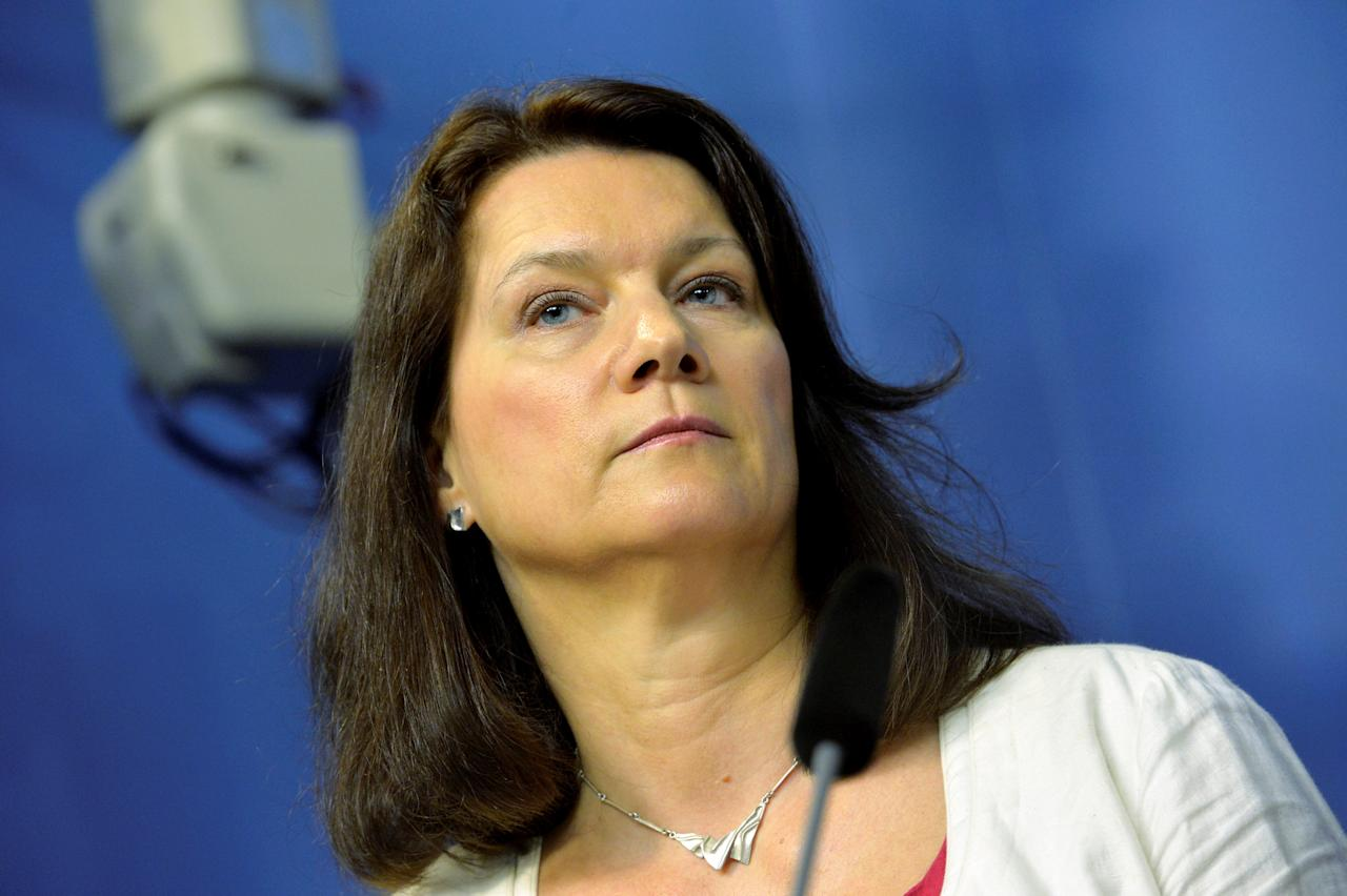 Ann Linde, Sweden's new Minister for EU Affairs and Trade, attends a news conference after a government reshuffle, in Stockholm, Sweden, May 25, 2016. TT News Agency/Jonas Ekstromer/via REUTERS ATTENTION EDITORS - THIS IMAGE WAS PROVIDED BY A THIRD PARTY. FOR EDITORIAL USE ONLY. SWEDEN OUT. NO COMMERCIAL OR EDITORIAL SALES IN SWEDEN. NO COMMERCIAL SALES.