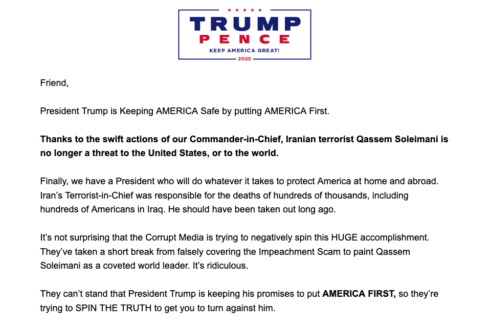 A screengrab showing part of the Trump campaign's email touting Soleimani's killing. (Yahoo News)