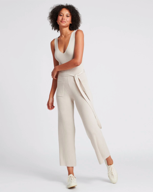 """Update your loungewear with a cashmere jumpsuit. """"With comfortable versatility as the driving factor of loungewear, we love the idea of a lounge jumpsuit as an update to traditional pj sets,"""" says Davignon. """"Layerable and luxurious, a belted cashmere jumpsuit is an elegant but snug option for the season."""" (Photo: Naadam) <a href=""""https://fave.co/2KxJLZb"""" rel=""""nofollow noopener"""" target=""""_blank"""" data-ylk=""""slk:SHOP IT:"""" class=""""link rapid-noclick-resp""""><strong>SHOP IT: </strong></a><strong>Naadam Ribbed Cashmere Jumpsuit, $175, </strong><a href=""""https://fave.co/2KxJLZb"""" rel=""""nofollow noopener"""" target=""""_blank"""" data-ylk=""""slk:naadam.co"""" class=""""link rapid-noclick-resp""""><strong>naadam.co</strong></a>"""