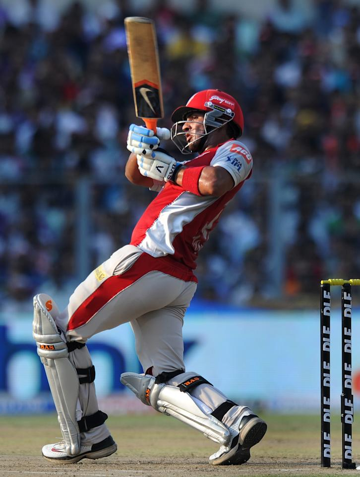 Kings XI Punjab batsman Mandeep Singh plays a shot during the IPL Twenty20 cricket match between Kolkata Knight Riders and Kings XI Punjab at The Eden Gardens in Kolkata on April 15, 2012. RESTRICTED TO EDITORIAL USE. MOBILE USE WITHIN NEWS PACKAGE. AFP PHOTO/Dibyangshu SARKAR (Photo credit should read DIBYANGSHU SARKAR/AFP/Getty Images)