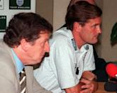 England's coach Glenn Hoddle, at right, and team official Roy Hodgson, attend a press conference in Rome, Thursday, October 9, 1997. England will play Italy in a Soccer World Cup group two qualifying match in Rome on Saturday. (AP Photo/Marco Ravagli)