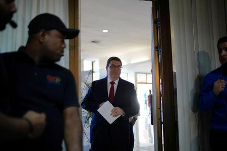 Cuba's Foreign Minister Bruno Rodriguez arrives for a news conference in Havana, Cuba, April 25, 2019. REUTERS/Alexandre Meneghini