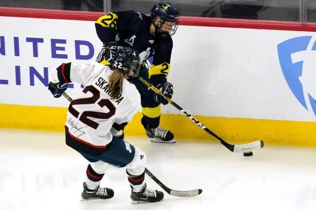 Minnesota's Kendall Coyne Schofield (26) scored the game-winning goal as her team defeated New Hampshire 4-2 to close out the PWHPA's Dream Gap Tour showcase in St. Louis on Monday. (Nam Y. Huh/The Associated Press - image credit)