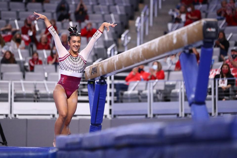 """<p>Blanco, a sophomore from the University of Alabama, was the sole winner on beam with a score of 9.9625 (she also tied for second in the all-around across the two semifinals). Alabama placed third in the second semifinal session on April 16 and did not move on to the final competition on April 17. However, Blanco said of her individual event win, """"<a href=""""http://rolltide.com/news/2021/4/16/gymnastics-alabamas-luisa-blanco-and-lexi-graber-win-ncaa-titles-alabama-finishes-2021-season-in-fifth.aspx"""" class=""""link rapid-noclick-resp"""" rel=""""nofollow noopener"""" target=""""_blank"""" data-ylk=""""slk:It's fulfilling because you see that your hard work is paying off"""">It's fulfilling because you see that your hard work is paying off</a>. In the moment, I wasn't even thinking about winning a title, we just wanted to show everyone how hard we worked."""" <a href=""""http://www.youtube.com/watch?v=KKLZfFc2yXI"""" class=""""link rapid-noclick-resp"""" rel=""""nofollow noopener"""" target=""""_blank"""" data-ylk=""""slk:Watch her routine here"""">Watch her routine here</a>, and see her proudly nod her head after sticking her double-twisting layout dismount.</p>"""