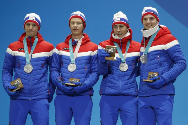 Medals Ceremony - Nordic Combined Events - Pyeongchang 2018 Winter Olympics - Men's Team 4 x 5 km - Medals Plaza - Pyeongchang, South Korea - February 23, 2018 - Silver medalists Jan Schmid, Espen Andersen, Jarl Magnus Riiber and Joergen Graabak of Norway on the podium. REUTERS/Eric Gaillard