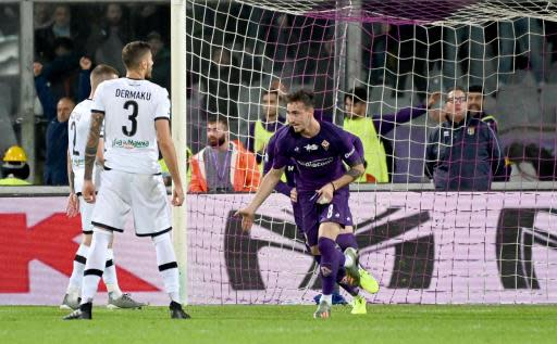 Fiorentina's Gaetano Castrovilli celebrates after scoring his side's first goal during the Italian Serie A soccer match between Fiorentina and Parma at the Artemio Franchi stadium in Florence, Italy, Sunday, Nov. 3, 2019. (Claudio Giovannini/ANSA via AP)