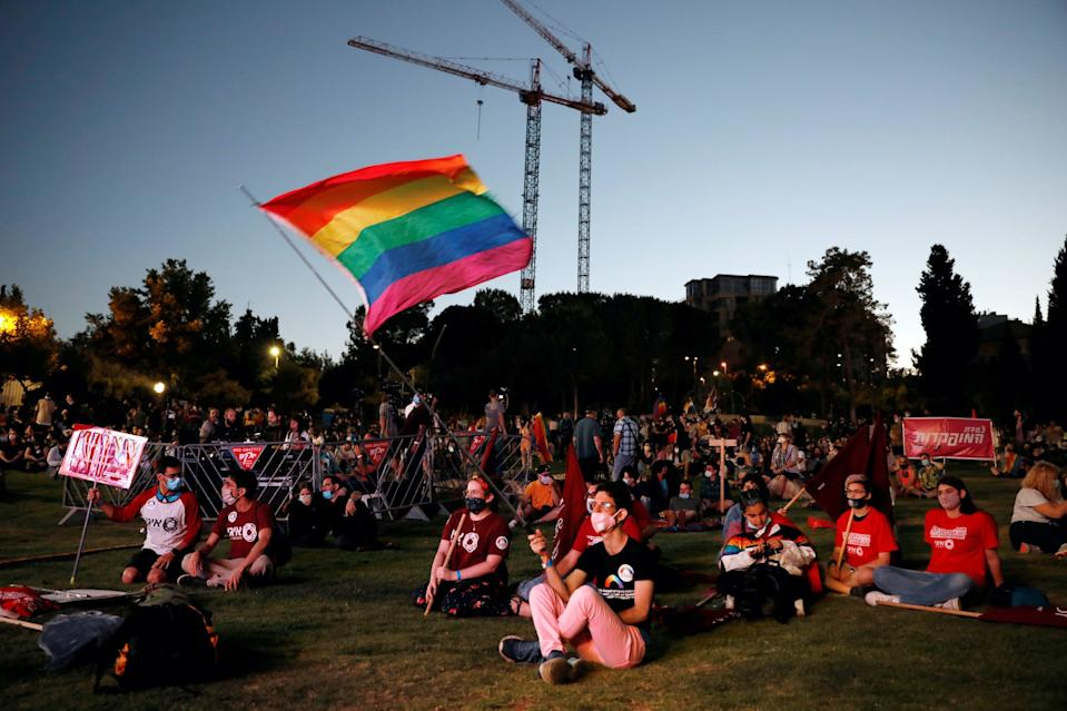 People take part in a Gay Pride event which has been down-scaled amid coronavirus disease (COVID-19) fears, in Jerusalem June 28, 2020.