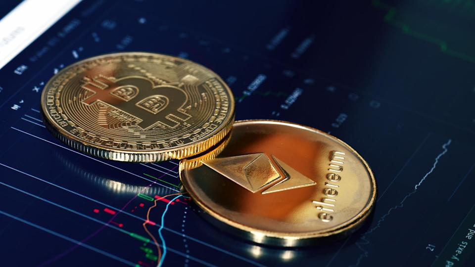 bitcoin and ethereum cryptocurrency coins