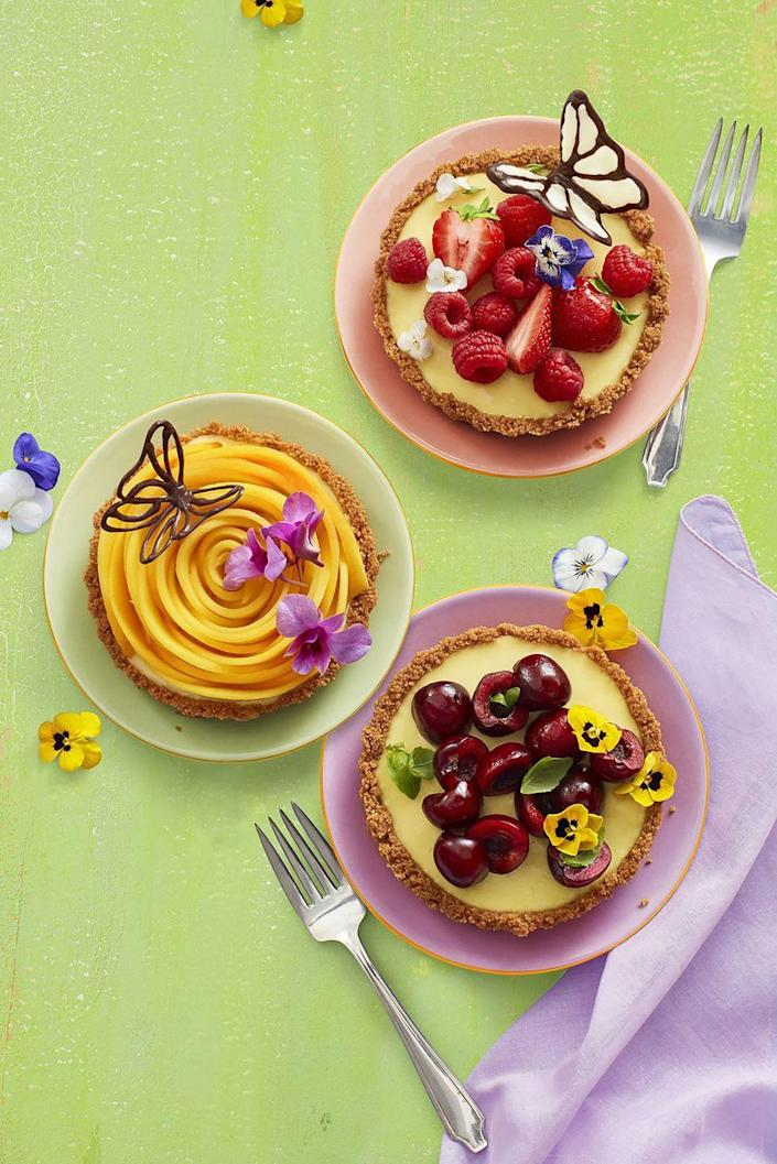 "<p>Hello, sweet spring mini desserts! These fruity lemon tarts are a great way to make a Mother's Day brunch spread Instagram-worthy. </p><p><a href=""https://www.womansday.com/food-recipes/food-drinks/a19810477/no-bake-lemon-tarts-recipe/"" rel=""nofollow noopener"" target=""_blank"" data-ylk=""slk:Get the recipe for No-Bake Lemon Tarts."" class=""link rapid-noclick-resp""><em>Get the recipe for No-Bake Lemon Tarts.</em></a> </p>"