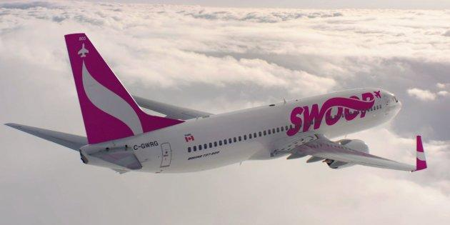 A Swoop airplane is seen in this undated handout photo. WestJet Airlines Ltd. says Swoop, its new ultra-low-cost carrier, will launch on June 20. The airline will begin with six weekly flights between Abbotsford, B.C., and Hamilton and six weekly flights between Hamilton and Halifax.