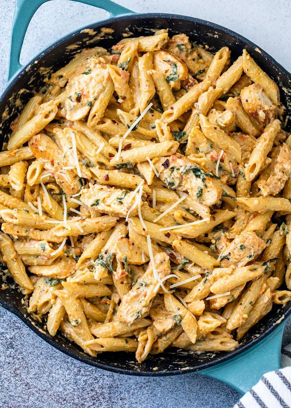 """<p>Be warned: Once you make this pasta, you'll crave it on almost every occasion. It's that good.</p><p><strong>Get the recipe at <a href=""""https://gimmedelicious.com/creamy-garlic-chicken-pasta/"""" rel=""""nofollow noopener"""" target=""""_blank"""" data-ylk=""""slk:Gimme Delicious"""" class=""""link rapid-noclick-resp"""">Gimme Delicious</a>.</strong></p>"""