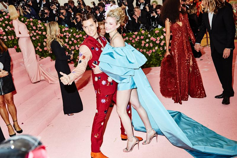 Cole Sprouse and Lilie Reinhart on the red carpet at the Met Gala in New York City on Monday, May 6th, 2019. Photograph by Amy Lombard for W Magazine.