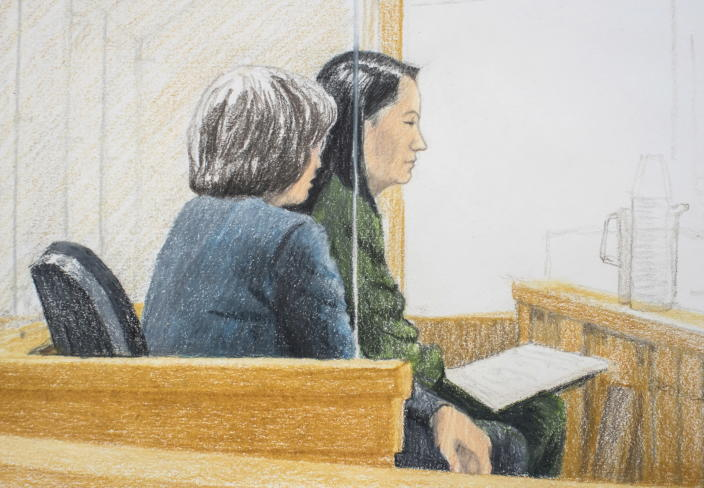 In this courtroom sketch, Meng Wanzhou, right, CFO of Huawei Technologies, is shown at a bail hearing in Vancouver, Canada, on Dec. 7, 2018. (Photo: Jane Wolsak/Canadian Press via AP)