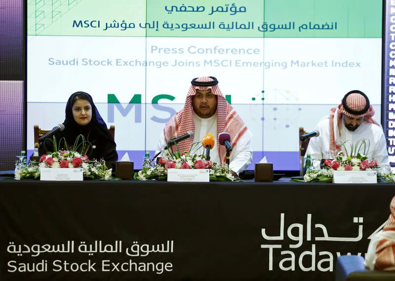 FILE PHOTO: Khalid al-Hussan, Chief Executive Officer of the Saudi Stock Exchange (Tadawul), speaks during a news conference after the inclusion of MSCI EM to the Saudi Stock Market in Riyadh