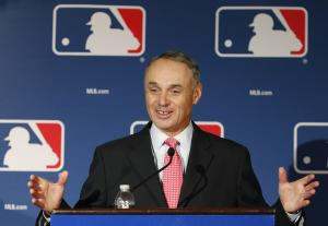 An international draft remains a priority for Rob Manfred. (AP)