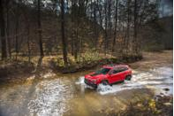 "<p>Though it has a unitary body and a transverse-mounted engine, the<a href=""https://www.caranddriver.com/jeep/cherokee"" rel=""nofollow noopener"" target=""_blank"" data-ylk=""slk:Jeep Cherokee"" class=""link rapid-noclick-resp""> Jeep Cherokee</a> in Trailhawk trim is actually dang good off-pavement. The Trailhawk uses the company's most advanced all-wheel-drive system (called Active Drive Lock) that supports a rear mechanical locking differential and a low 51.2:1 crawl ratio. This equipment combines with a selectable traction-control system that includes Rock mode and hill-descent control. The off-road suspension provides 8.7 inches of ground clearance and greater approach and departure angles than other Cherokees. The standard engine is 3.2-liter V-6 lashed to a nine-speed automatic transaxle. A 2.0-liter turbocharged four is a $500 option. </p>"