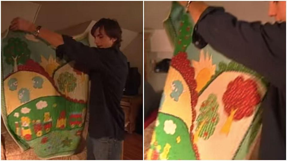 """<p>Oh this? Just Ashton Kutcher's blanket """"from when I was a kid,"""" which he still sleeps with as a fully formed adult man. </p>"""