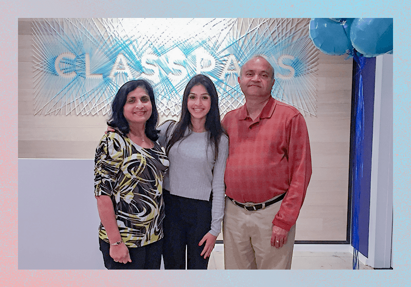 Kadakia with her mother, Geeta, and father, Harshad, the day before the opening of ClassPass' New York City office (2015).