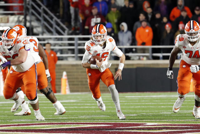 Trevor Lawrence (16) takes off on a keeper during a game between the Boson College Eagles and the Clemson University Tigers on. November 10, 2018, at Alumni Stadium in Chestnut Hill, Massachusetts. (Getty Images)