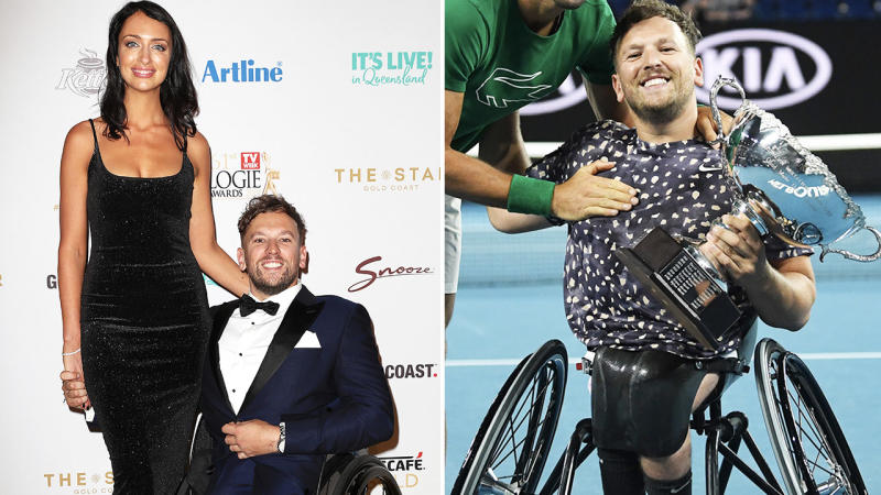 Dylan Alcott, pictured here with girlfriend Chantelle Otten and at the Australian Open.
