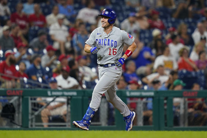 Chicago Cubs' Patrick Wisdom reacts after hitting a two-run home run off Philadelphia Phillies pitcher Kyle Gibson during the fifth inning of a baseball game against the Philadelphia Phillies, Tuesday, Sept. 14, 2021, in Philadelphia. (AP Photo/Matt Slocum)