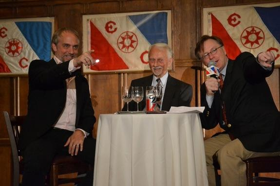 Richard Garriott (left) picks out fellow space tourist Dennis Tito in the audience at the Explorers Club. On Sept. 4, 2013, Garriott and his father, former NASA astronaut Owen Garriott (middle) were interviewed by adventurer and journalist Jim