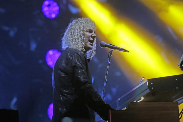 """Bon Jovi's keyboard player David Bryan performs during their """"Bon Jovi Live!"""" concert at Gelora Bung Karno Stadium in Jakarta, Indonesia, Friday, Sept. 11, 2015. The band is currently on their Asia tour. (AP Photo/Tatan Syuflana)"""