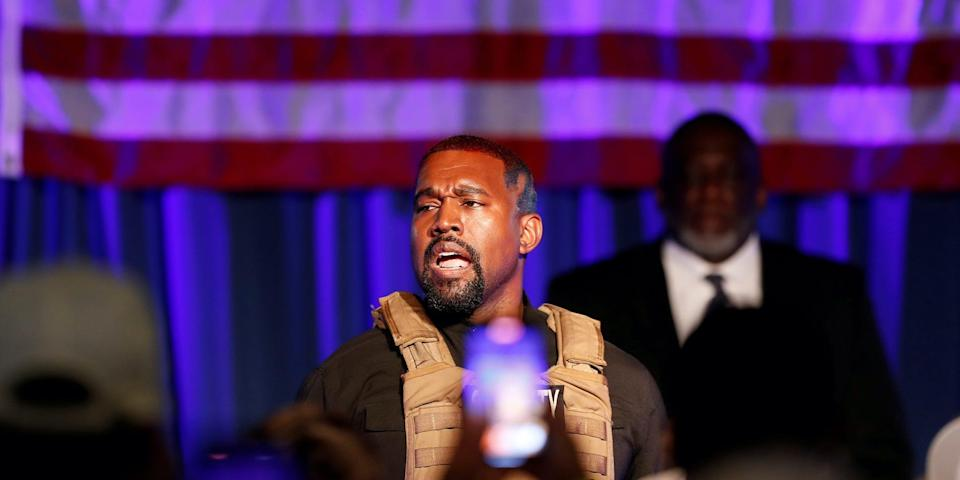 Kanye West at a campaign event in South Carolina in July.