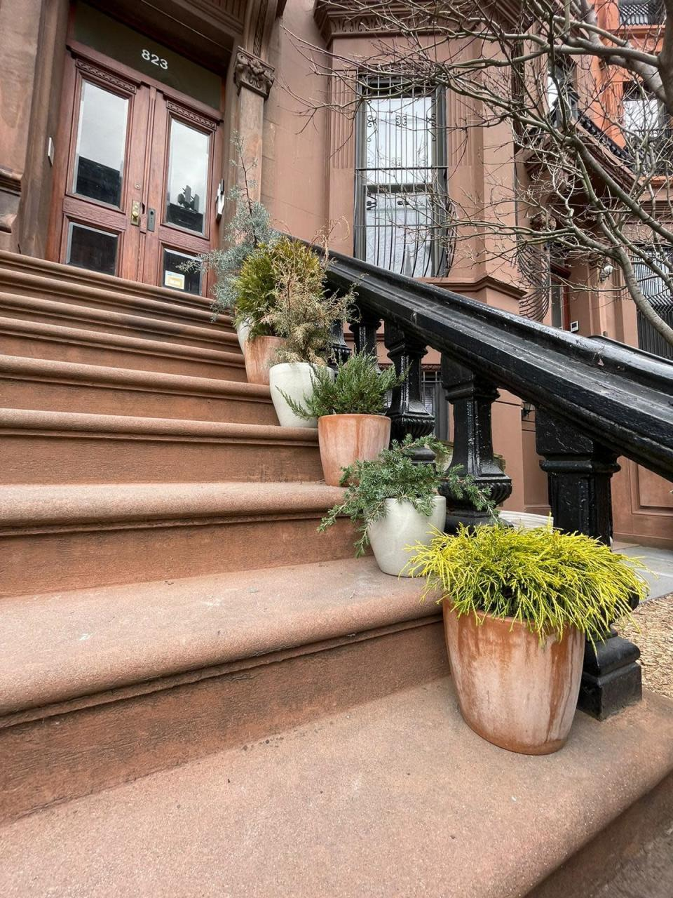 "A procession of conifers in sturdy pots provide a welcoming guide up the stairs to the stoop of this brownstone in the Brooklyn borough of New York. Front stoops have long welcomed visitors to city homes, and have served as gathering spots for friends and neighbors engaging in what urban design activist Jane Jacobs called ""the sidewalk ballet."" (Kate Cook via AP)"