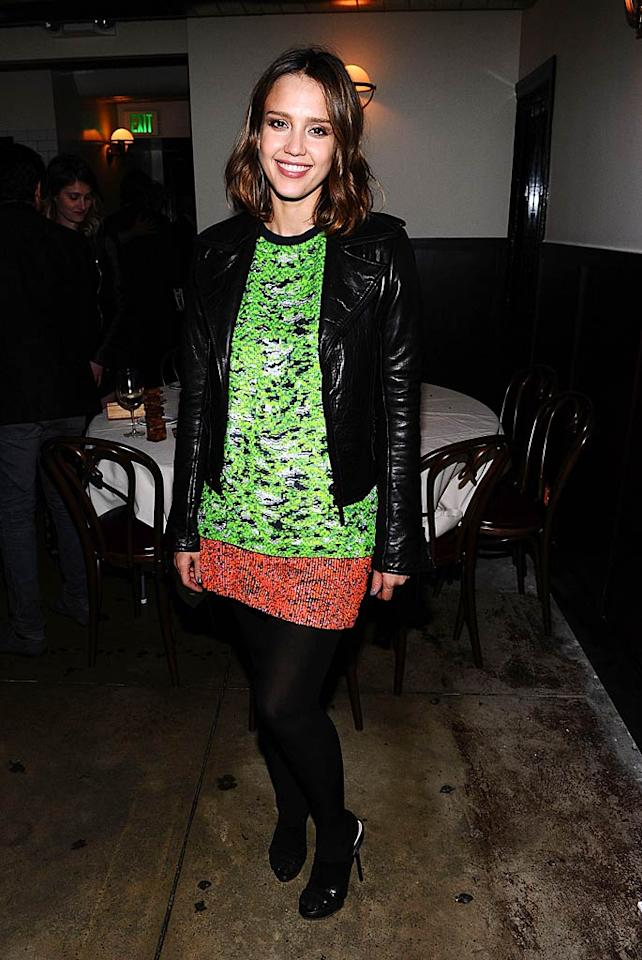 """Jessica Alba rarely disappoints, but the mom-to-be failed to impress in a sequined Proenza Schouler eyesore and limp locks at a recent dinner party at Il Sole in West Hollywood, California. Neon may be trendy, but it's not for everyone! Michael Buckner/<a href=""""http://www.wireimage.com"""" target=""""new"""">WireImage.com</a> - March 10, 2011"""