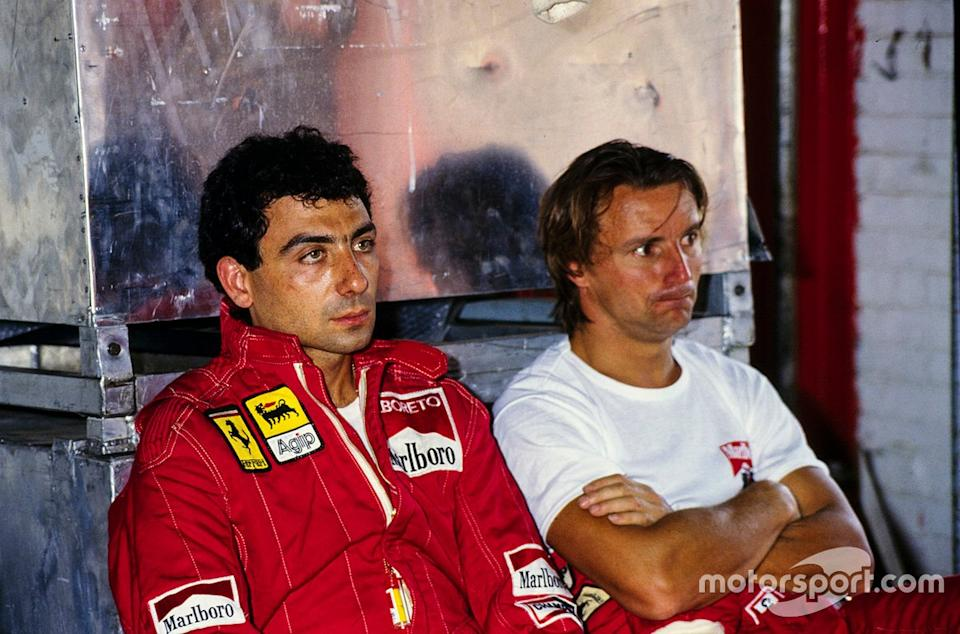 "Aside from a brilliant drive from the back in Dallas, Arnoux was overshadowed by Alboreto in '84, but never let it affect their relationship. <span class=""copyright"">Ercole Colombo</span>"