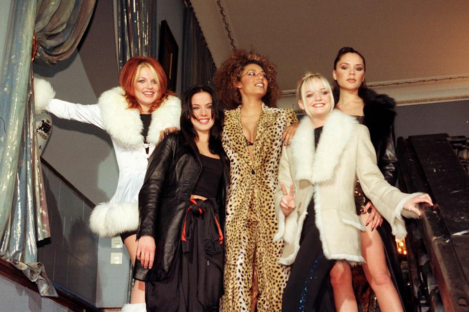 The Spice Girls promote Spice World the movie. (Photo by Ronald Siemoneit/Sygma/Sygma via Getty Images)