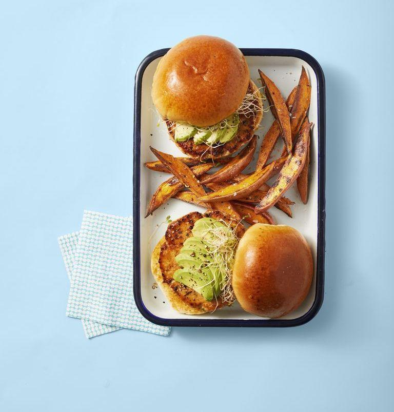 """<p>Tired of regular burgers? Salmon burgers are a healthier — but equally delicious — alternative and easily come together with the help of your food processor.</p><p><em><a href=""""https://www.goodhousekeeping.com/food-recipes/easy/a28468915/salmon-burgers-with-spiced-sweet-potato-fries-recipe/"""" rel=""""nofollow noopener"""" target=""""_blank"""" data-ylk=""""slk:Get the recipe for Salmon Burgers with Spiced Sweet Potato Fries »"""" class=""""link rapid-noclick-resp"""">Get the recipe for Salmon Burgers with Spiced Sweet Potato Fries »</a></em></p>"""