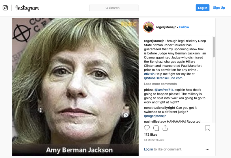 Instagram post by Roger Stone of U.S. District Judge Amy Berman Jackson
