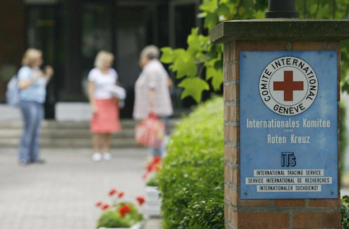 Picture taken 28 July 2006 shows a nameplate that marks the entrance of the International Tracing Service (ITS), an arm of the International Committee of the Red Cross, based in Bad Arolsen. (MARTIN OESER/AFP/Getty Images)