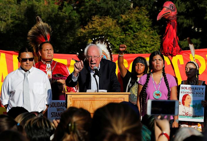 <p>Former Democratic presidential candidate Sen. Bernie Sanders speaks at a rally to call on President Obama to stop the Dakota Access pipeline, in front of the White House on Sept.13, 2016. (Photo: Jonathan Ernst/Reuters) </p>