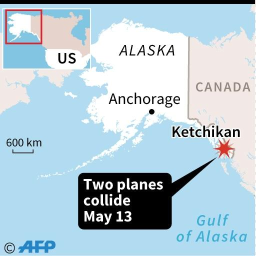 Map locating the area in Alaska where two planes carrying a total of 16 people -- 14 of them cruise ship passengers -- collided (AFP Photo/)