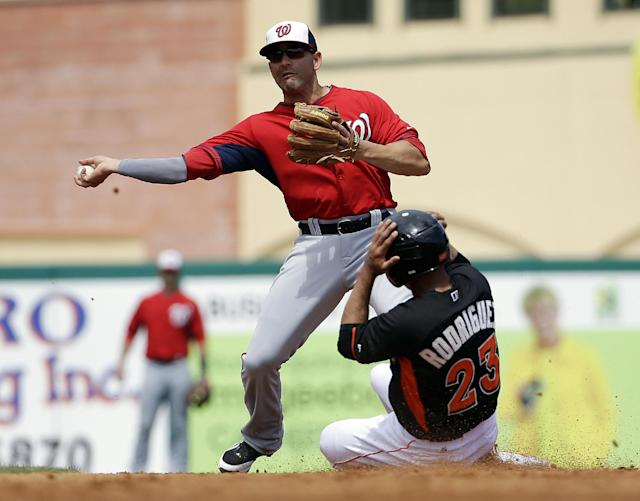 Miami Marlins' Josh Rodriguez, right, is out at second base as Washington Nationals' Danny Espinosa throws to first on a ground force out by Rafael Furcal in the third inning of an exhibition spring training baseball game, Saturday, March 15, 2014, in Jupiter, Fla. (AP Photo/David Goldman)