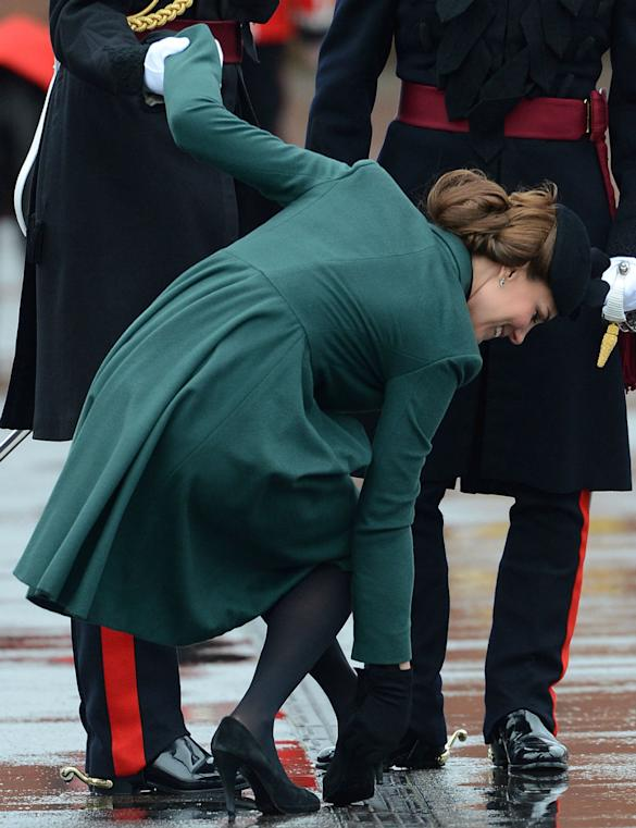 Careful Kate Middleton! Duchess Of Cambridge Avoids Tumble After Getting Foot Stuck