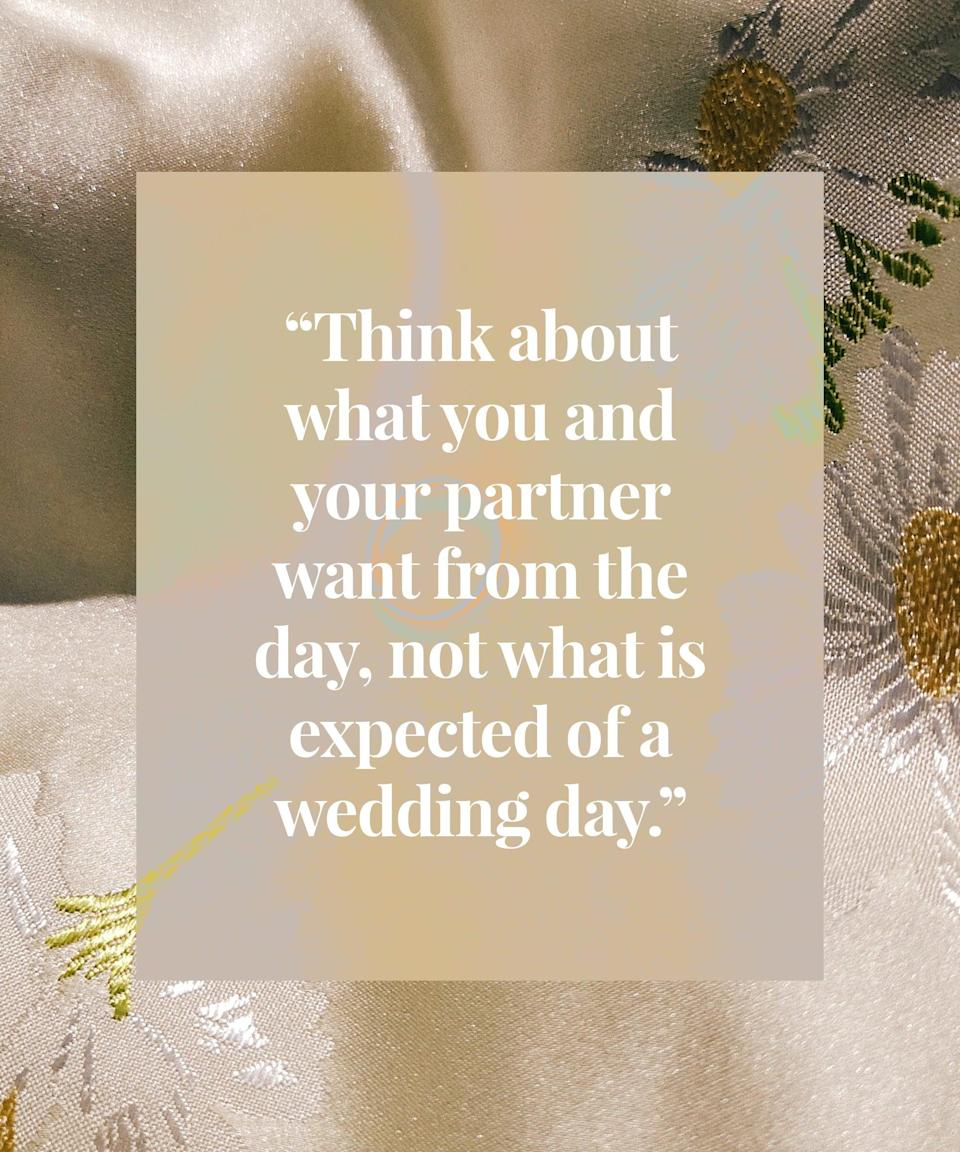 <h2>Cathie got married in 2015<br></h2><br>On reflection, I wish I had a smaller wedding. We were quite frugal in terms of average wedding costs, spent less than £7k, but it was still a day about other people. In hindsight, as both of us are introverted it would have been more 'us' to have a smaller wedding day for family and close friends and then a get-together for others afterwards.<br><br>I regret not spending enough on the photographer. We used a part-time person who came recommended and have lots of great photos but not enough of me and my husband alone. I think a full-time photographer would have picked up on this and pulled us away for a bit to fill that gap.<br><br>When planning you should think about what you and your partner want from the day, not what is expected of a wedding day. The only requirements are for it to be at a registered venue, someone official to oversee it and to have witnesses, the rest is up to you. What we wanted was an ice cream van so we booked one to turn up. It was a great moment.