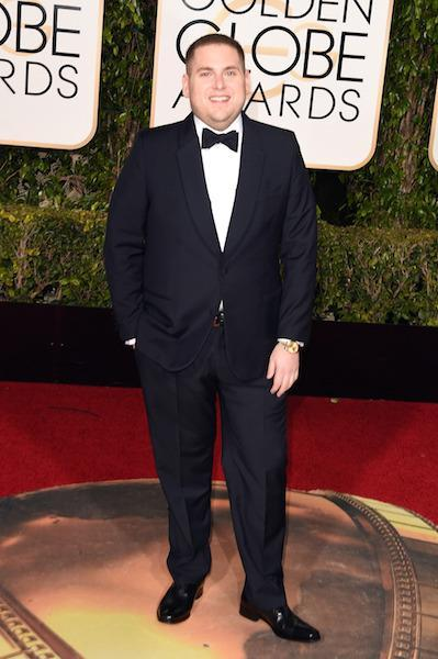 Jonah Hill in black and white at the 73rd Golden Globe Awards.
