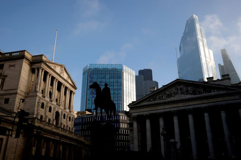 FILE PHOTO: A view of The Bank of England and the City of London financial district in London, Britain