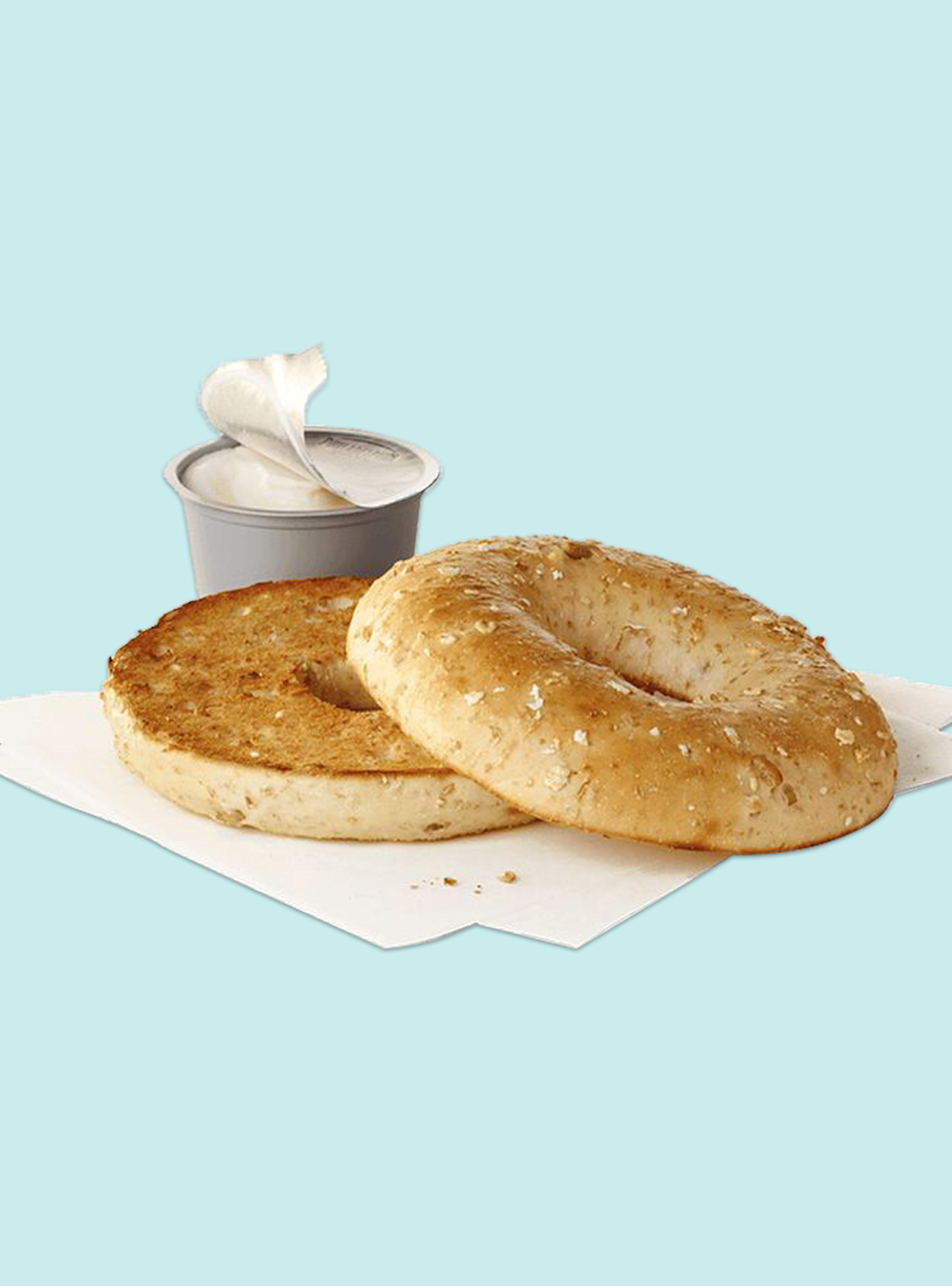"<p><strong>Calories</strong>: 290</p><p><strong>Total Carbohydrates</strong>: 43g</p><p><strong>Saturated Fat</strong>: 4.5g</p><p><strong>Sodium</strong>: 460mg</p><p>This hearty bagel is normally served with cream cheese, but you can line order substitutions like scrambled eggs instead. While the fruit parfait may be lower in calories, the serving size isn't on par with the bagel itself — and the added sugar doesn't justify it over the noticeable fiber uptick in this bagel option. Packed with 3 grams of fiber, this is considered a good fiber source.</p><p><a class=""link rapid-noclick-resp"" href=""https://www.chick-fil-a.com/menu-items/sunflower-multigrain-bagel"" rel=""nofollow noopener"" target=""_blank"" data-ylk=""slk:Order Now"">Order Now</a></p>"