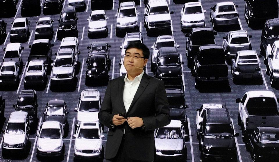 Didi Chuxing's CEO Cheng Wei speaks at a product launch event in Beijing last year. Photo: Reuters