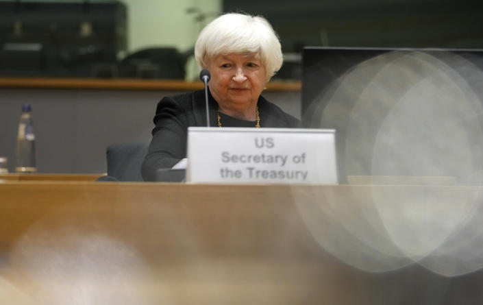 U.S. Treasury Secretary Janet Yellen prepares to speak during a meeting of eurogroup finance ministers at the European Council building in Brussels on Monday, July 12, 2021. (AP Photo/Virginia Mayo)