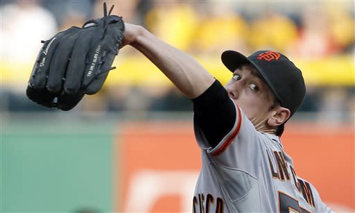 San Francisco Giants starting pitcher Tim Lincecum throws against the Pittsburgh Pirates in the first inning of the baseball game on Tuesday, June 11, 2013, in Pittsburgh. (AP Photo/Keith Srakocic)