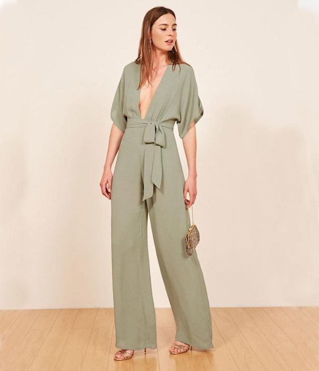 "<p>Lemongrass Jumpsuit, $278, <a href=""https://www.thereformation.com/products/lemongrass-jumpsuit?color=Seafoam&via=Z2lkOi8vcmVmb3JtYXRpb24td2VibGluYy9Xb3JrYXJlYTo6Q2F0YWxvZzo6Q2F0ZWdvcnkvNWE2YWRmZDNmOTJlYTExNmNmMDRlOWNi"" rel=""nofollow noopener"" target=""_blank"" data-ylk=""slk:thereformation.com"" class=""link rapid-noclick-resp"">thereformation.com</a> </p>"