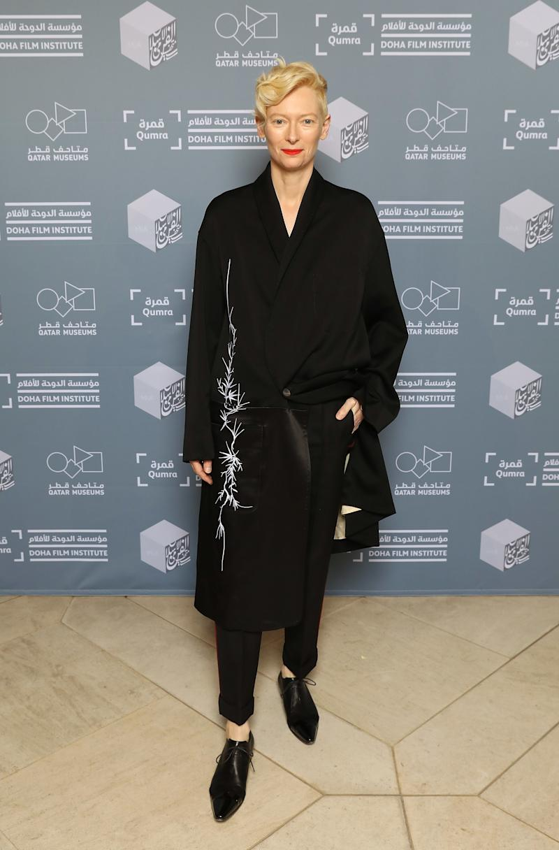 WHO: Tilda Swinton<br />WHAT: Haider Ackermann<br />WHERE: At the Okja screening, Doha, Qatar<br />WHEN: March 8, 2018